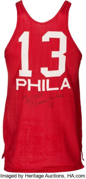 autographed Wilt Chamberlain jersey